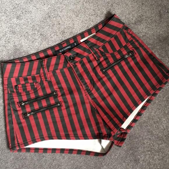 27b8ce31cfa Blackheart Pants - 🖤Blackheart Red and Black Striped Shorts❤️